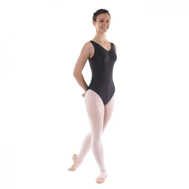 Tappers & Pointers Black Sleeveless Leotard Ruched Front